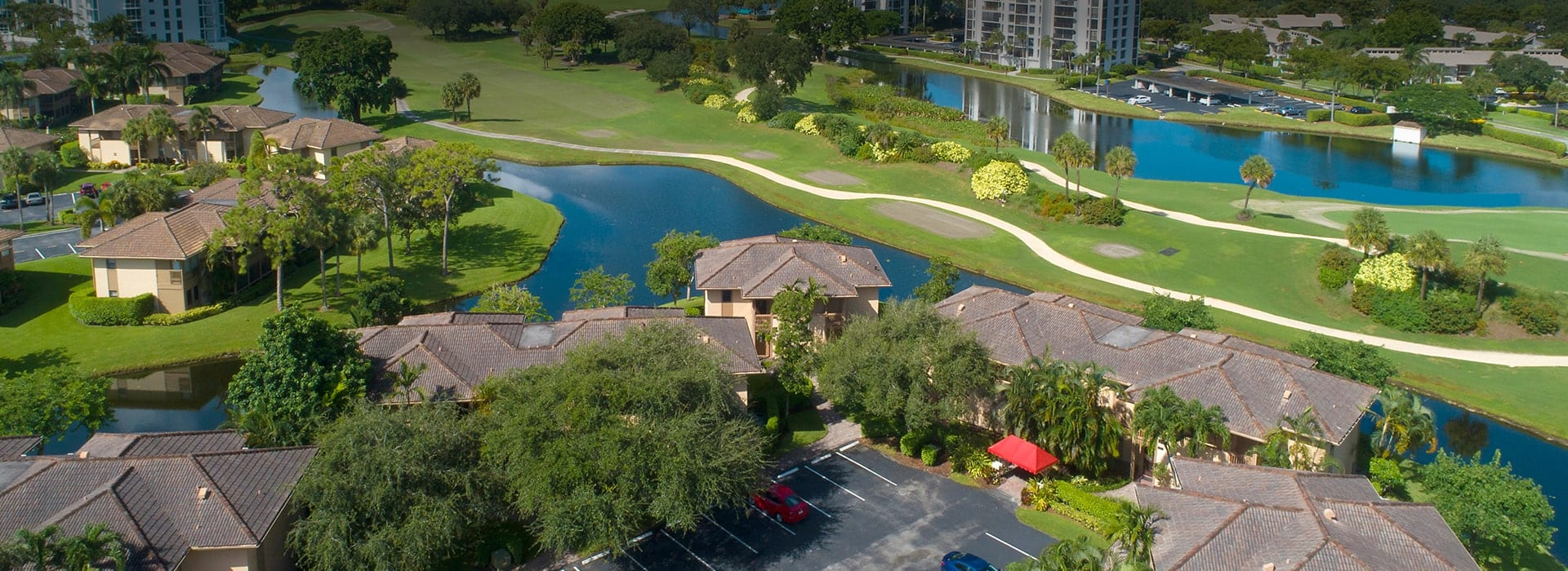 Brookwood townhomes in Boca West with lake and golf course views