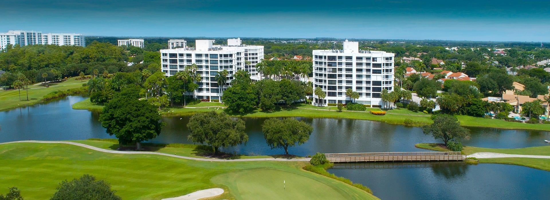 Fairway Point condominium living at Boca West overlooking fairways and greens