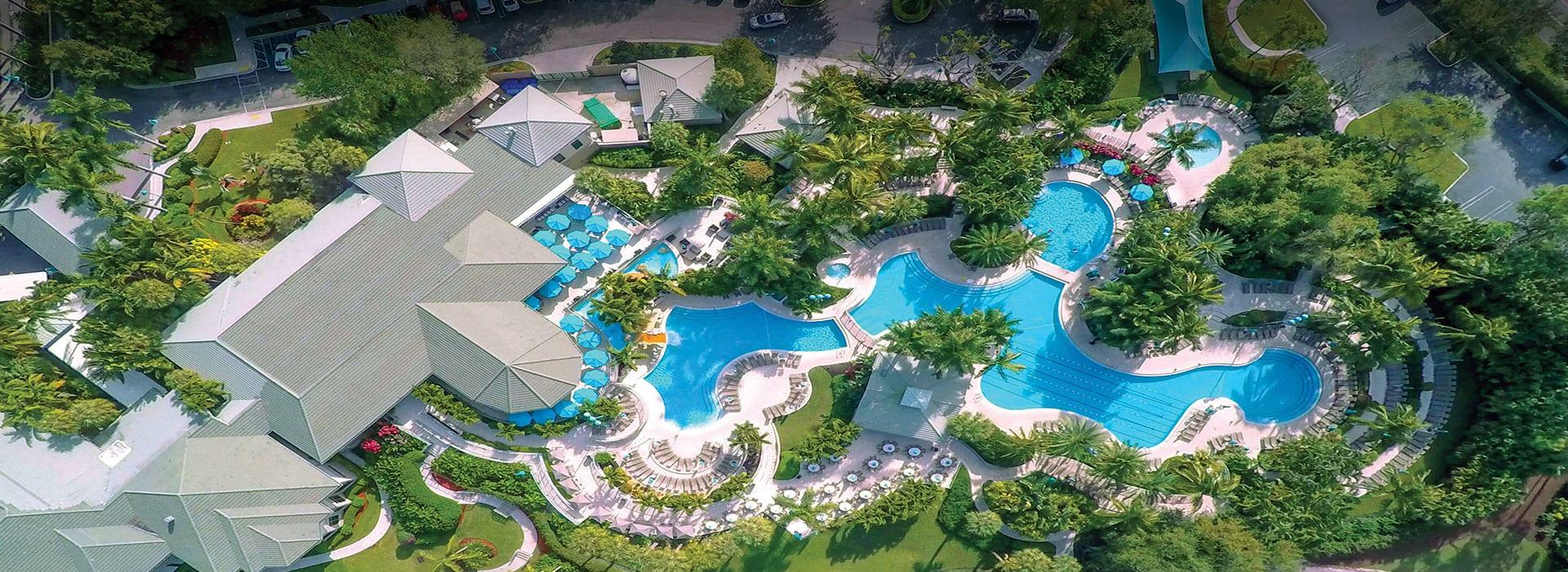 Aerial view of pools at Boca West Aquatics Center