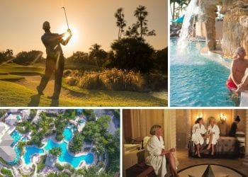 collage image of a man playing golf at Boca West, a couple at the pool, three women at the spa, and an arial image of the aquatics center