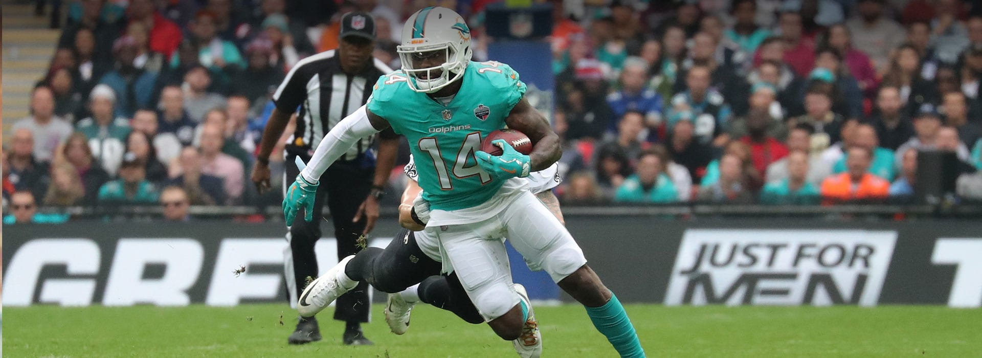 Miami Dolphin Football player carrying ball