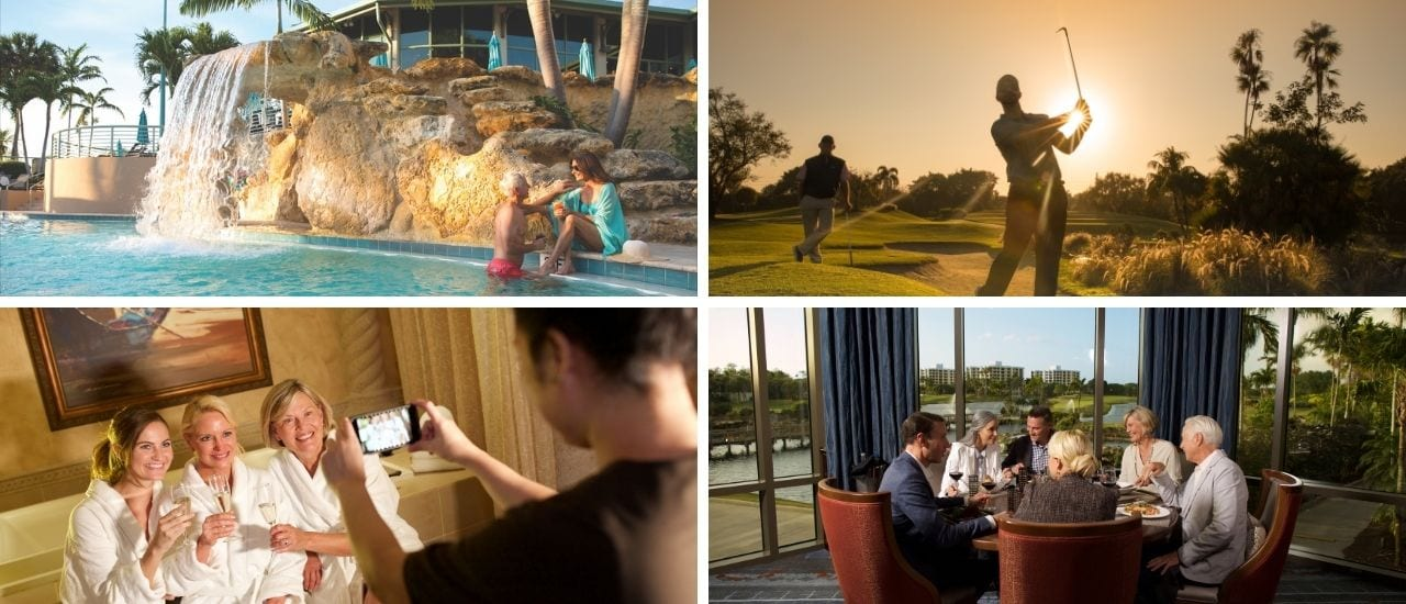 collage of boca west number one lifestyle, pool, golf, spa and dining