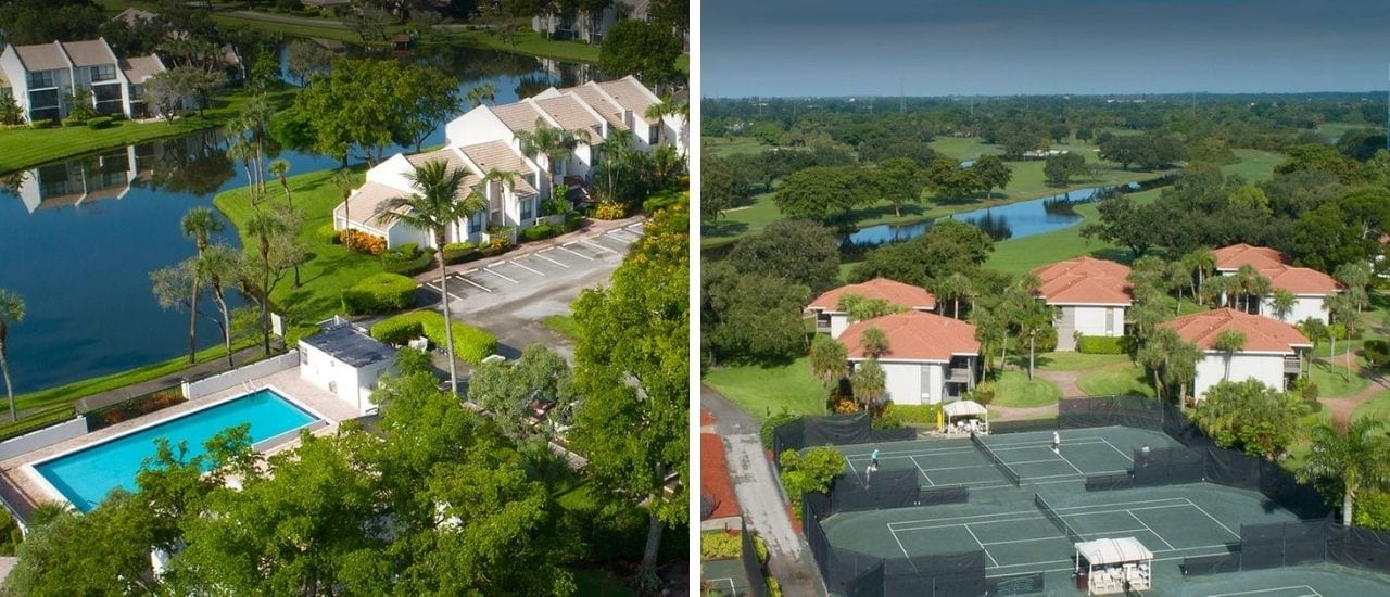 aerial view of 2 homes at boca west on the water