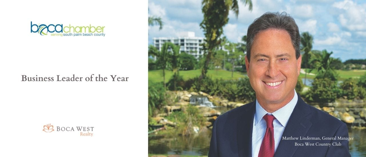 Boca West's Matthew Linderman Awarded Business Leader of the Year